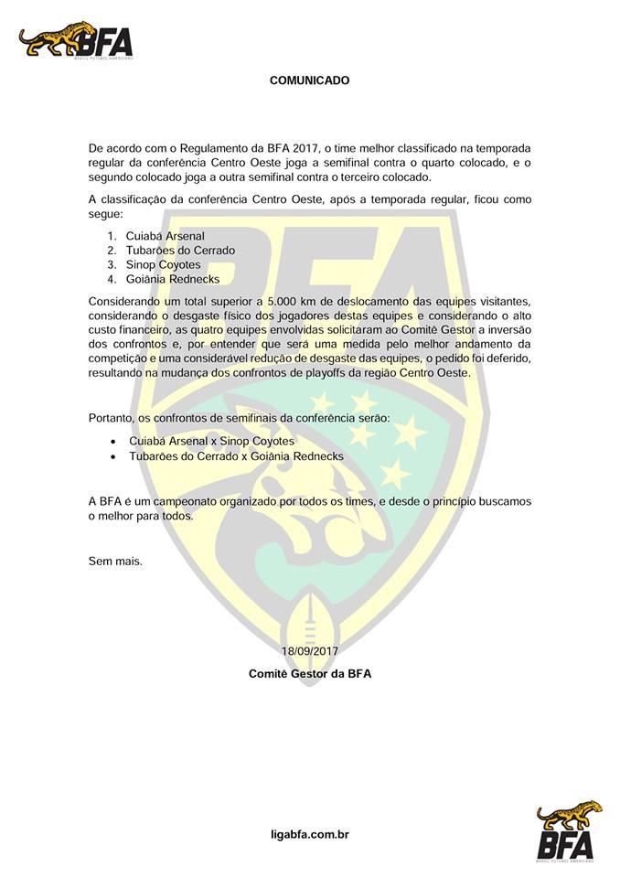 Documento divulgado pela Brasil Futebol Americano nas redes sociais - Foto: reprodução
